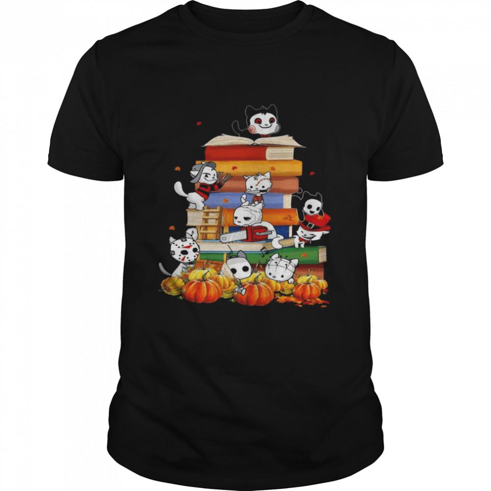 Halloween Cats Horror Movie Characters Books and Pumpkin shirt