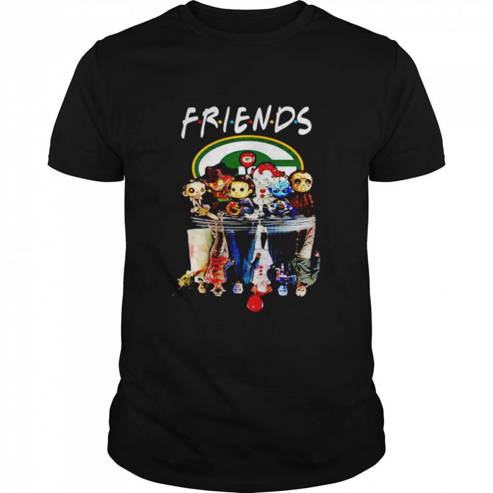 Premium horror Halloween chibi Packers Friends water mirror shirt