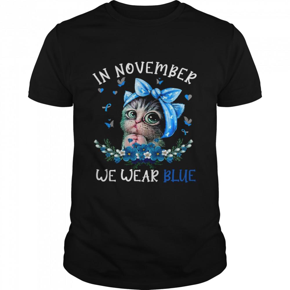 Cat In November We Wear Blue Shirt