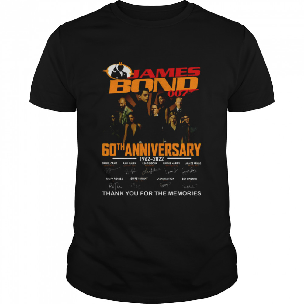 James Bond 007 60th Anniversary 1962-2022 Signature Thank You For The Memories Shirt
