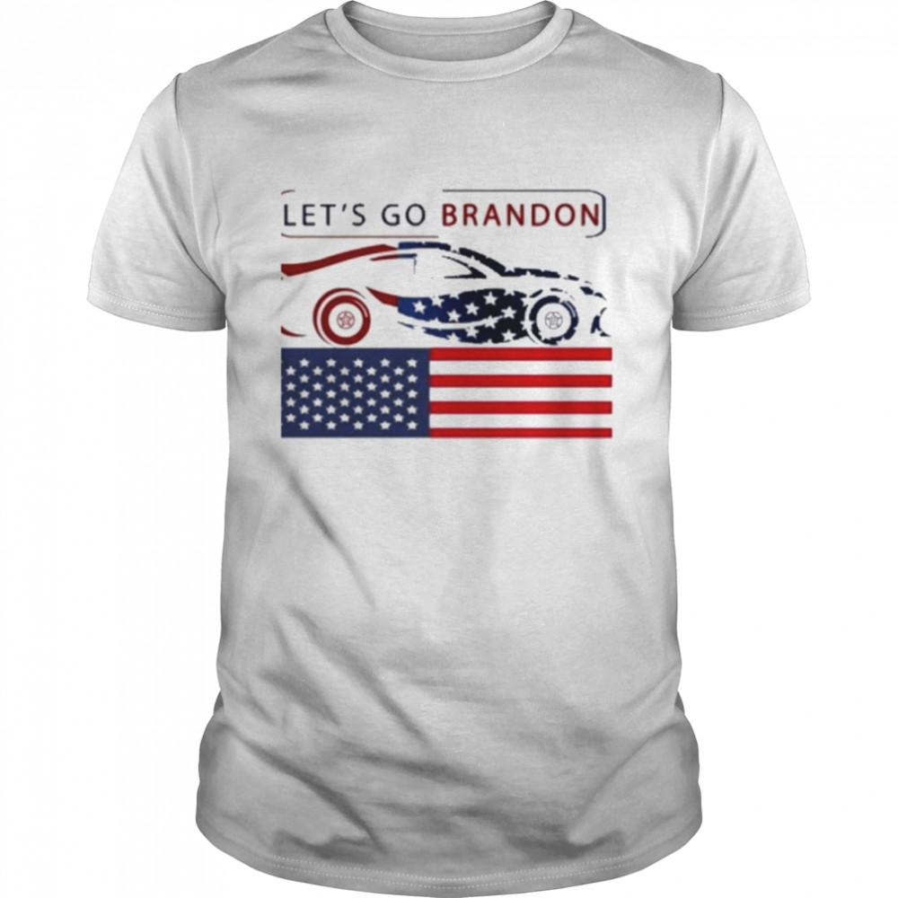 NASCAR American flag let's go brandon T-Shirt