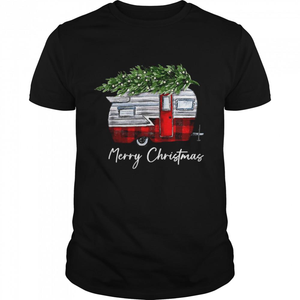 Merry Christmas Camping Caravan Xmas Tree T-shirt