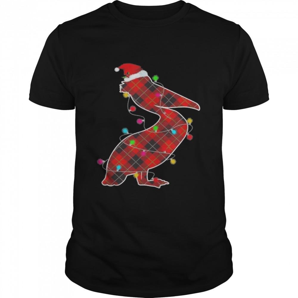 pajama red plaid Christmas lights pelican animals Christmas shirt
