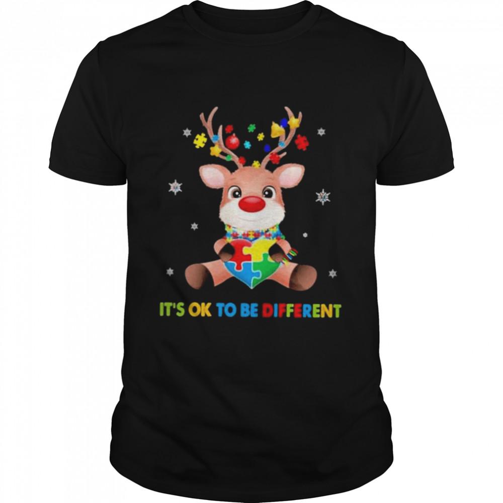 Reindeer It's Ok To Be Different Autism Awareness Christmas Shirt