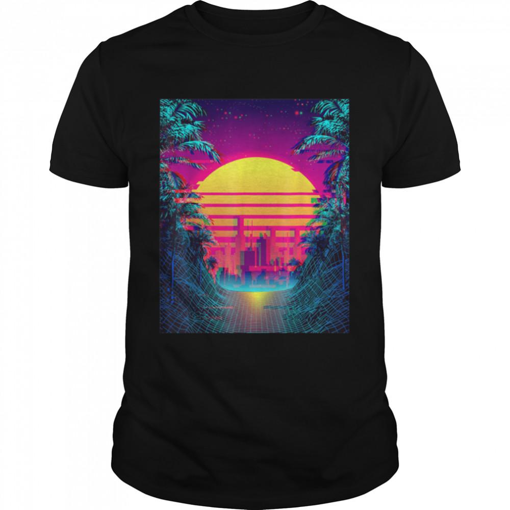 Retro Outrun Synthwave Aesthetic 80's Vaporwave T-Shirt B09JX2QZ5Y