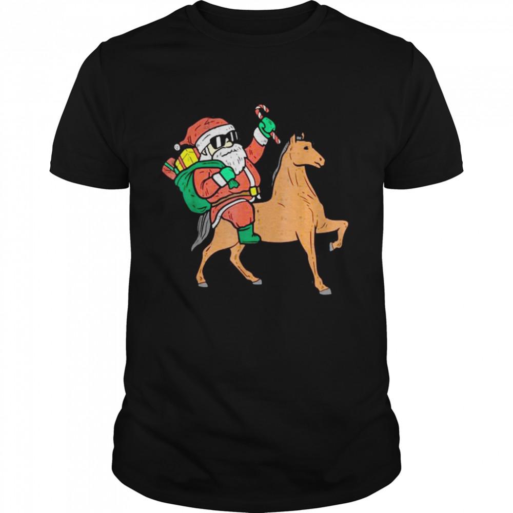 Santa Horse Riding Animal Christmas PJs Xmas Pajamas Girls T Shirt