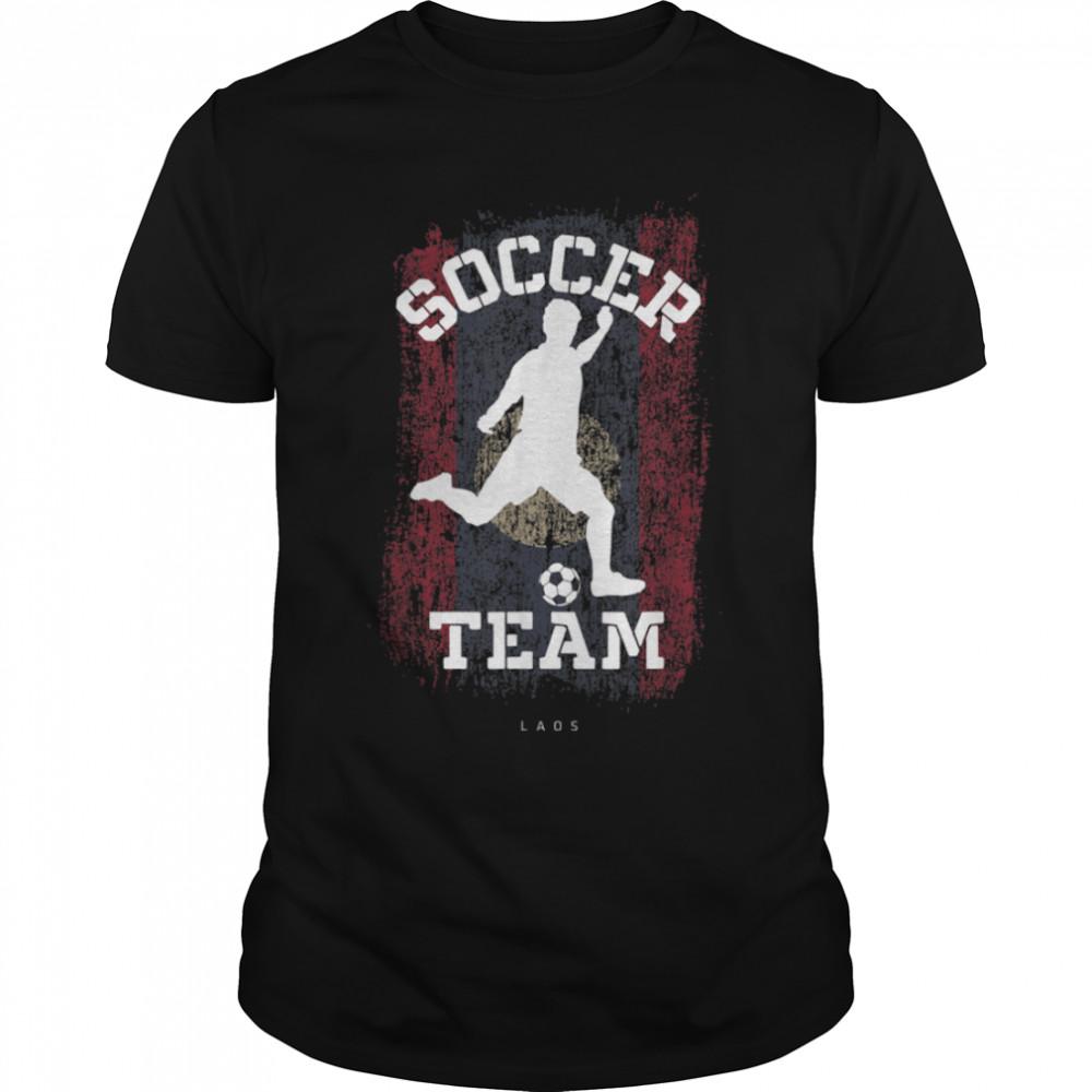 Soccer Laos Flag Football Team Soccer Player T-Shirt B09JPFFZR1