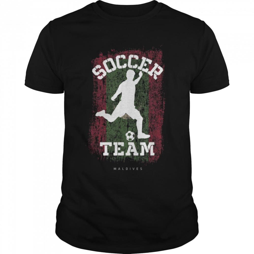 Soccer Maldives Flag Football Team Soccer Player T-Shirt B09JPFQFSV