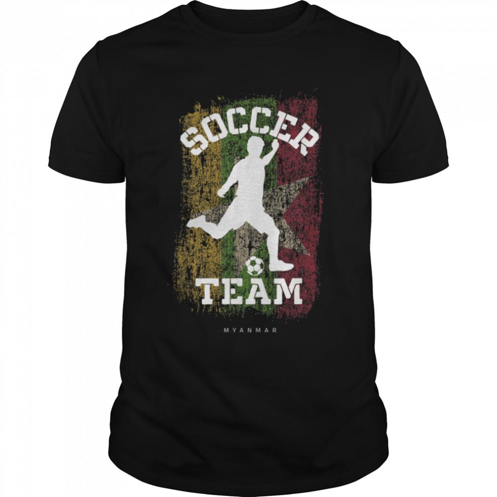Soccer Myanmar Flag Football Team Soccer Player T-Shirt B09JPFFP3Y