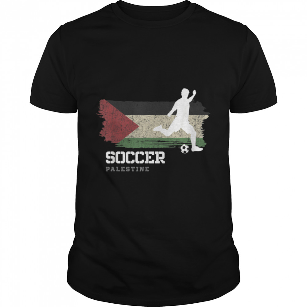 Soccer Palestine Flag Football Team Soccer Player T-Shirt B09K1RKM9F