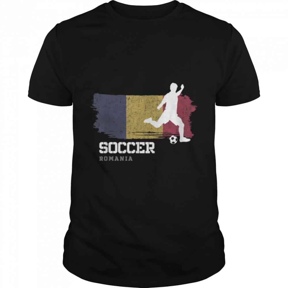 Soccer Romania Flag Football Team Soccer Player T-Shirt B09K1Z43K4