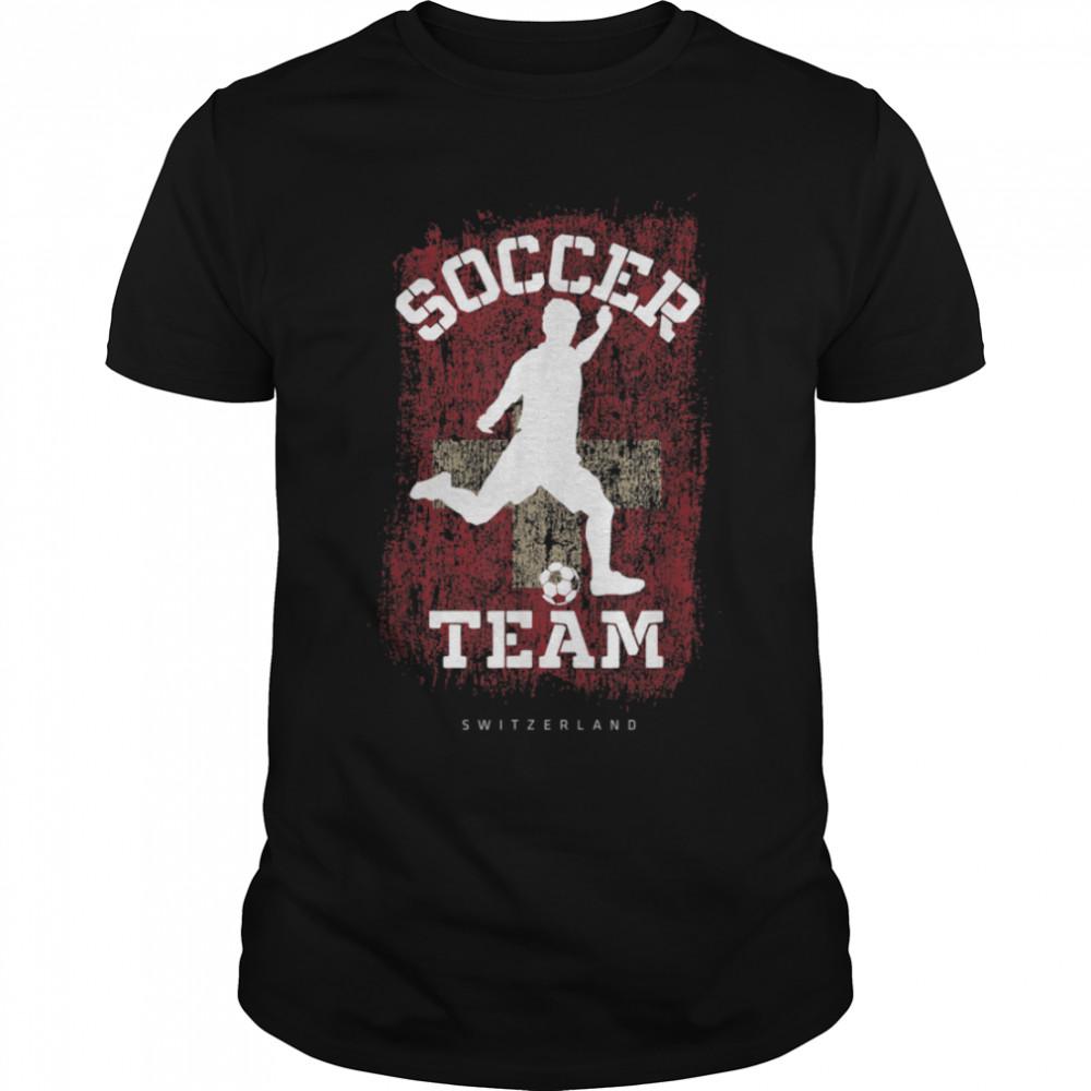 Soccer Switzerland Flag Football Team Soccer Player T-Shirt B09JPDZ4CH