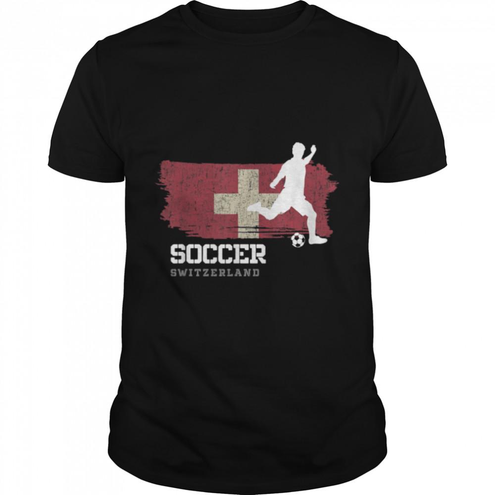 Soccer Switzerland Flag Football Team Soccer Player T-Shirt B09K1ZXBRD