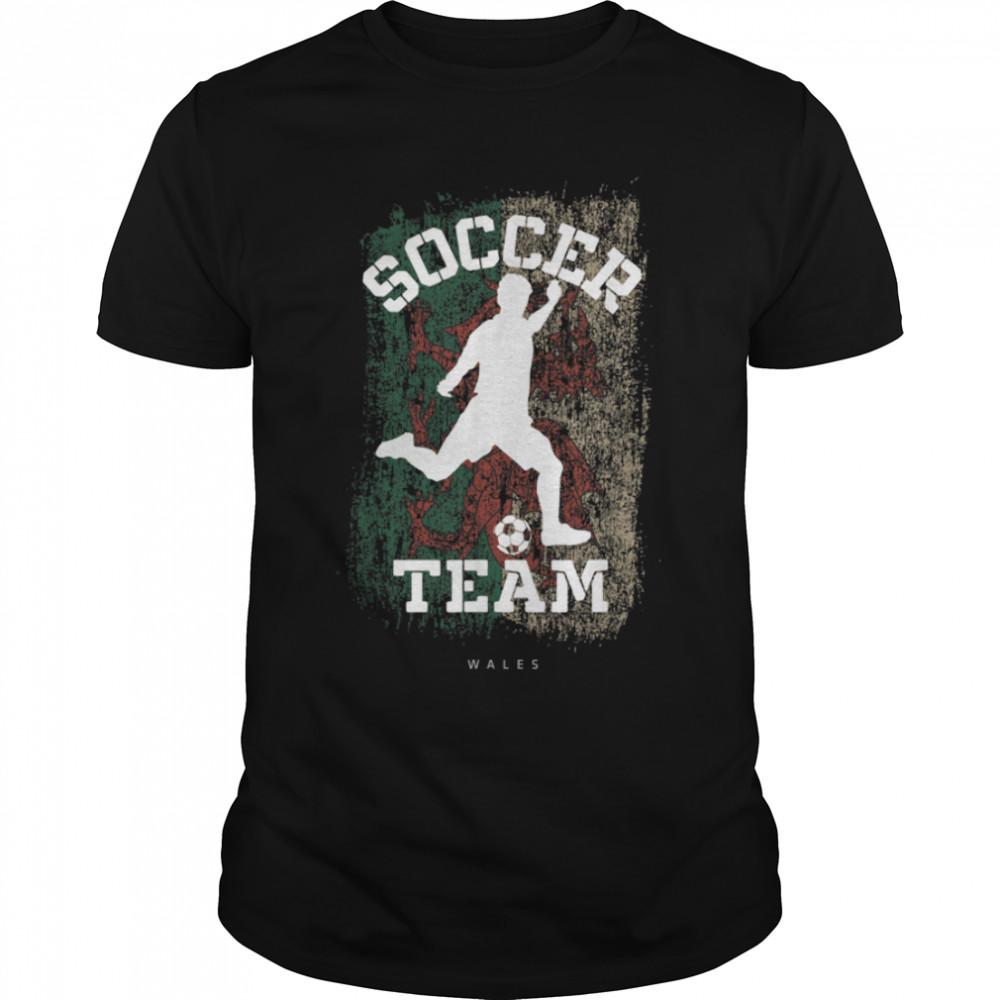 Soccer Wales Flag Football Team Soccer Player T-Shirt B09JPD71HL