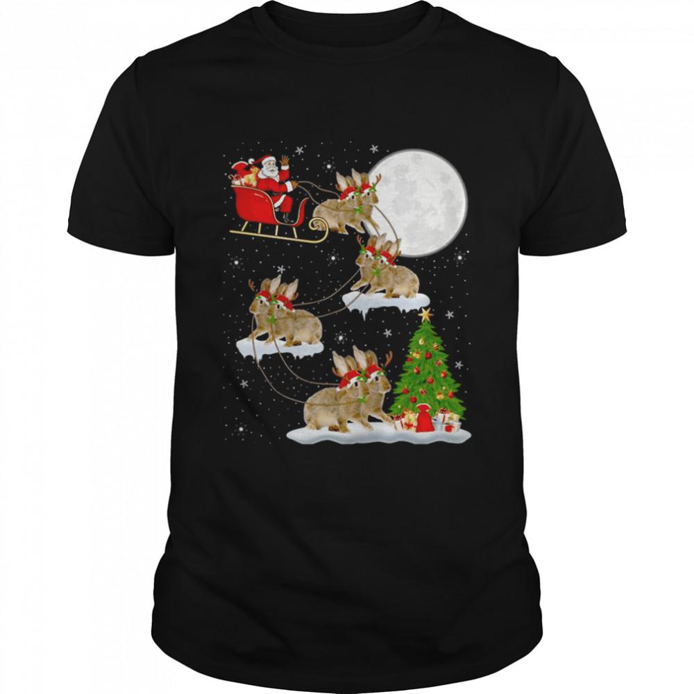 Xmas Lighting Tree Santa Riding Rabbit Christmas Sweater T-shirt